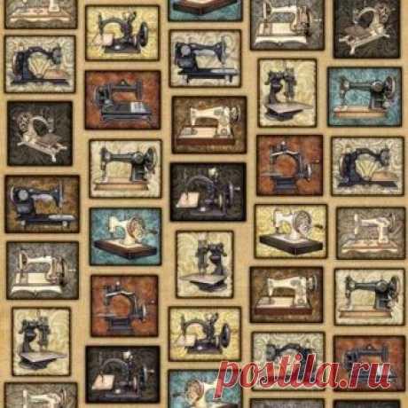 Старые швейные машинки на бежевом 1613-001 - Старый портной <- RJR <- Ткани - Каталог | StitchCraft