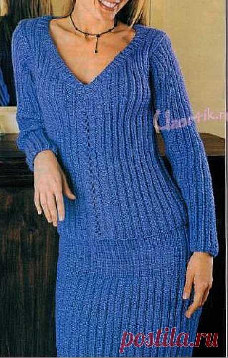 Вязаный пуловер и юбка - Описание вязания, схемы вязания крючком и спицами | Узорчик.ру