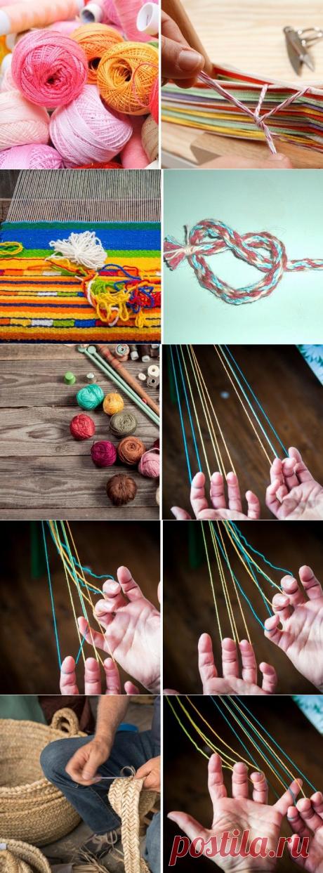 Мастерица берет в руки 5 нитей разных цветов и начинает плести. Никаких спиц и крючков!