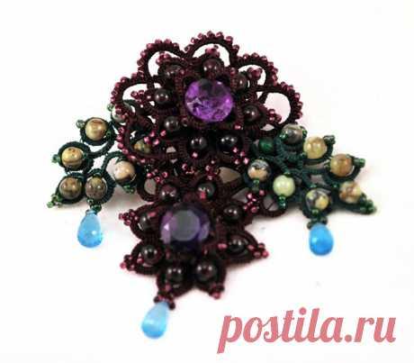 """Купить Авторское украшение, брошь """"После дождя"""" - украшения, украшения ручной работы, украшения из камней"""