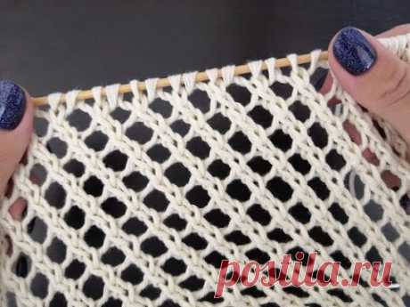 Простая ажурная сетка спицами - оригинальный летний узор.  Openwork mesh knitting.