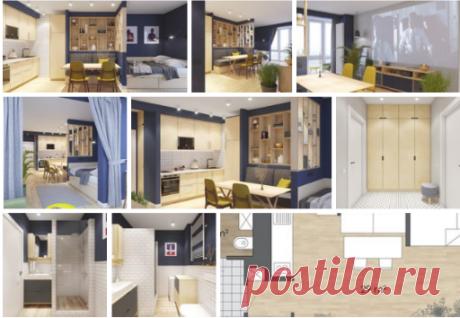 Проект квартиры-студии площадью 38 кв.м Дизайнер - Артём Алексеев