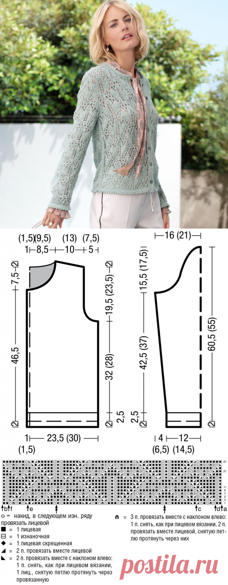Женственный ажурный жакет - схема вязания спицами. Вяжем Жакеты на Verena.ru