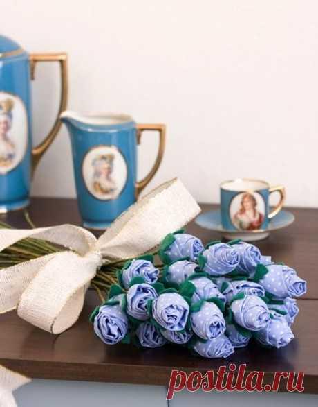 Цветы из ткани. Голубые розы. Мастер-класс. Выкройка.