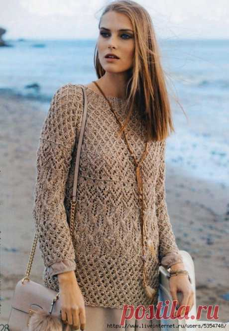 Нежный ажурный летний пуловер спицами — HandMade