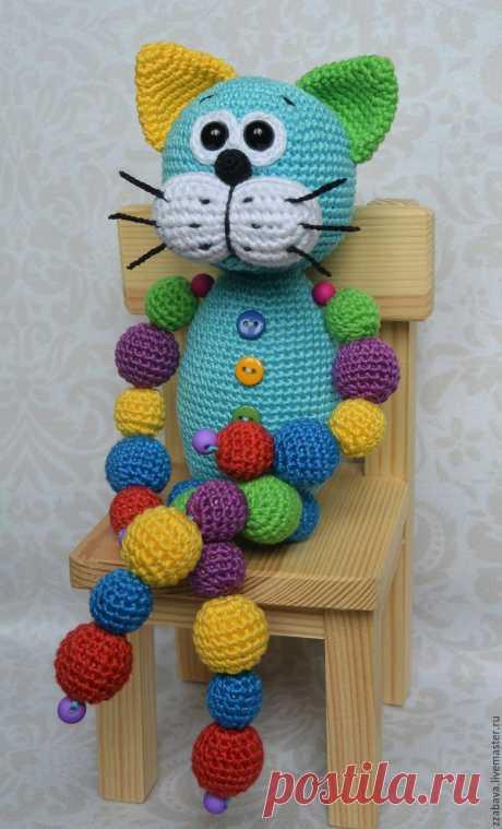 Кот Кругляш синий с бусинами игрушка вязаная крючком – купить в интернет-магазине на Ярмарке Мастеров с доставкой Кот Кругляш синий с бусинами игрушка вязаная крючком - купить или заказать в интернет-магазине на Ярмарке Мастеров | Вот такой замечательный и яркий авторский котейка…