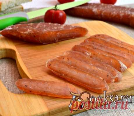 Dry-cured home-made sausage from chicken fillet of a photo the recipe of preparation