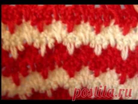 Вязание крючком  Двухцветный узор с длинными петлями