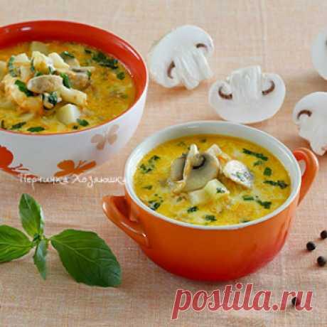 Сырный суп с курицей и грибами - 5 рецептов