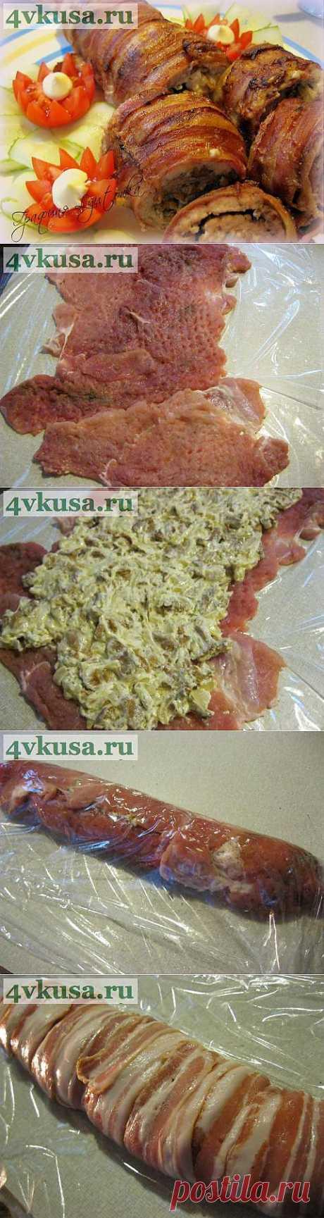 Мясной рулет с грибами и беконом | 4vkusa.ru