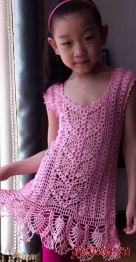 Вязание: ажурное  для девочки крючком.