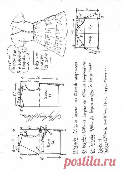 Vestido 3 babados decote V   DIY - molde, corte e costura - Marlene Mukai