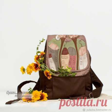 Женский городской рюкзак из ткани. Удобный и красивый рюкзак для города и путешествий - 4 внешних кармана (2 боковых, передний и задний на молнии). Внутри рюкзака 2 кармана, один из них на молнии. . Размер 14*24 см - это дно, высота 36 см Длина лямок регулируется.