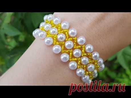 Beaded bracelet/Pearl bracelet/Браслет из бисера/Жемчужный браслет из бусин и бисера/Бисероплетение