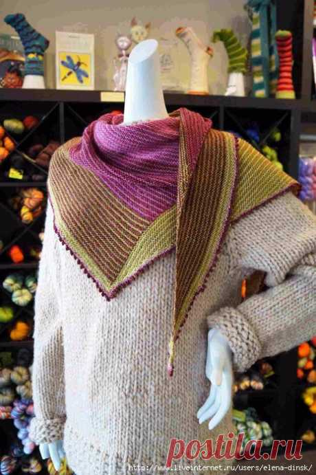 Четырехцветная шаль  Biscotte Paintbox (описание кликабельно на увеличение) от Loise ROBERT