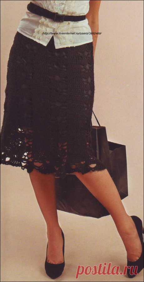 Чёрная юбка и пояс крючком