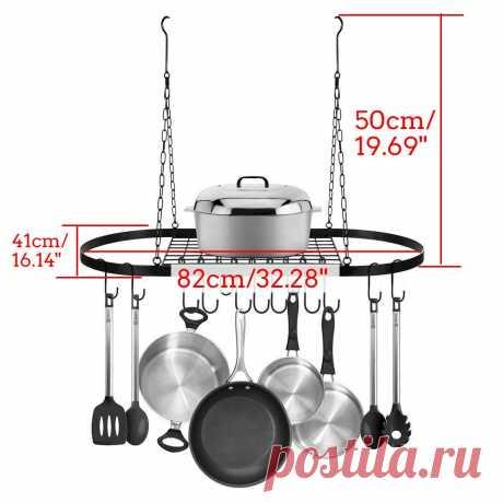 Складная подвесная железная полка для хранения, кухонный Органайзер, подставка для кастрюли, Потолочная полка + 10 крючков, аксессуары для домашней кухни 82x41x50cm|Полки и держатели| | АлиЭкспресс