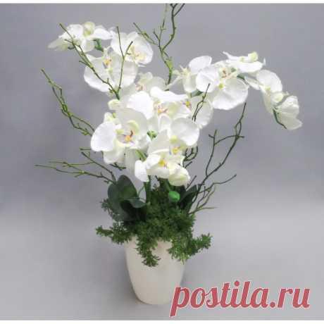 """Орхидеи """"Фаленопсис"""", искусственные, в декоративном кашпо, белые"""