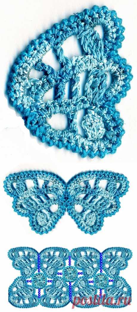 Схема вязания крючком бабочки и кружка