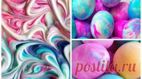 Невероятно красивая мраморная окраска яиц с помощью пены для бритья — SamantaWay
