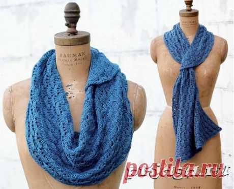 Синий шарфик спицами, схема