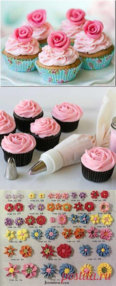 Украшение тортов и прочих кондитерских изделий с помощью кондитерских насадок.