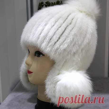 Из натуральной норки шапочки шляпа женские модные зимние теплые шапки с меховым помпоном 2017, новая мода высокое качество густой мех шапочка головные уборы купить на AliExpress