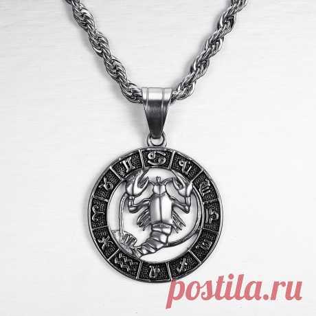 Серебряный цвет 12 созвездий зодиака кулон ожерелье Панк Ретро Высокое качество нержавеющая сталь Веревка Цепь гороскоп для мужчин