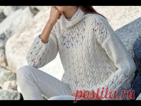Изящный белоснежный свитер витиеватым ажурным узором