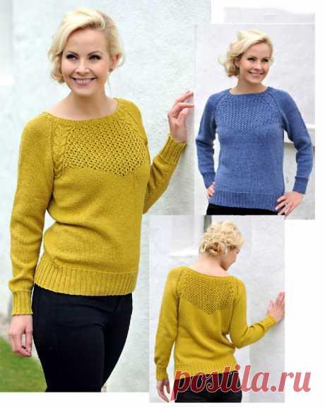 Элегантный свитер спицами реглан снизу - Портал рукоделия и моды