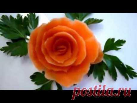 Роза из моркови! Украшения из моркови. Decoration of carrots. Flowers of carrots - YouTube