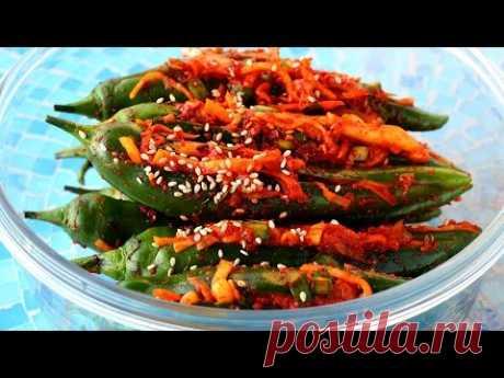 Пряный фаршированный зеленый перец чилийский кимчи (Gochu-sobagi: 고추 소박이)