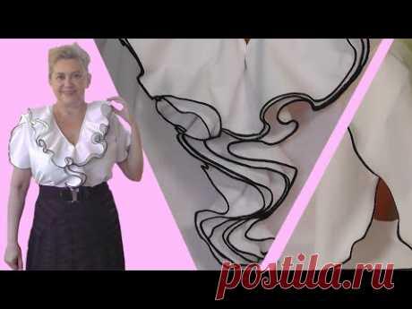 Шьем блузку с тройным воланом из мужских рубашек