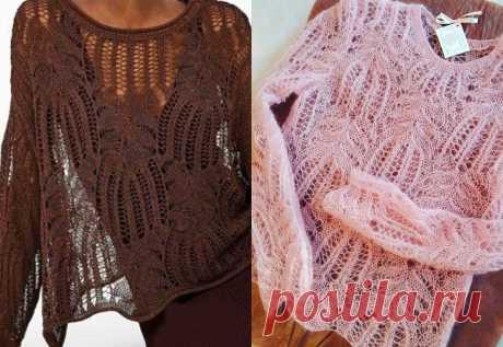 Свободный ажурный пуловер красивым узором - Knitting.Klubok.ru.com