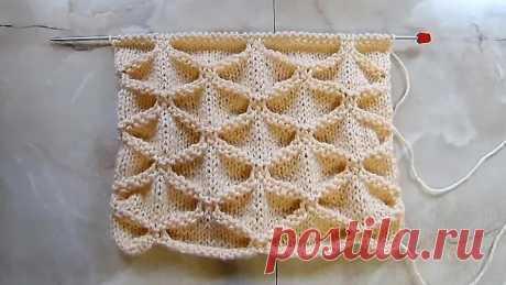 Объемный узор Клоке Вязание спицами