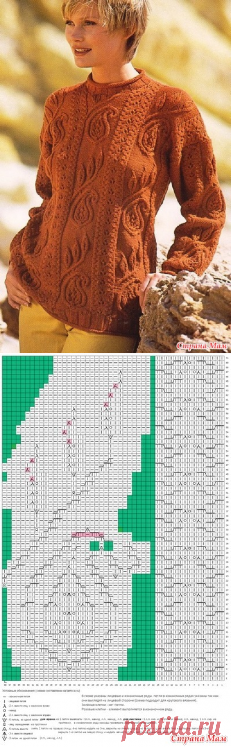 Узор пейсли аранами для пуловера