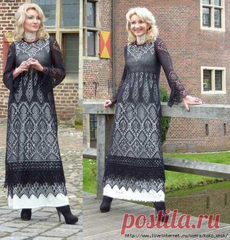 Черное платье спицами шетландскими мотивами. Angélique, le Chemin de Versailles (Путь в Версаль - Мой удивительный мир — LiveJournal