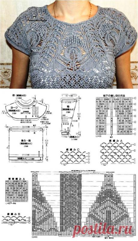 Patrón #1260: Blusa de Encaje a Dos Agujas   CTejidas [Crochet y Dos Agujas]