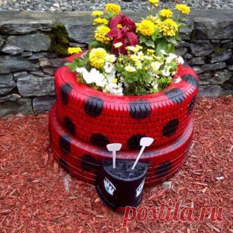 Поделки из шин для сада — клумбы, мебель, качели и даже бассейн