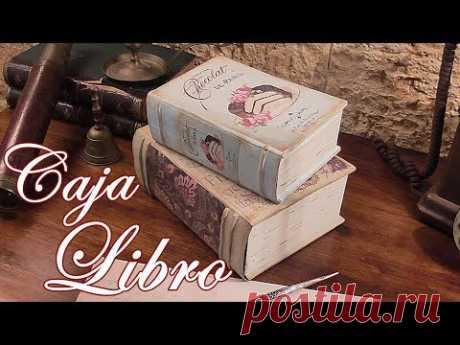 Como hacer una Caja libro reciclando cartón. Libro de decoración Vintage