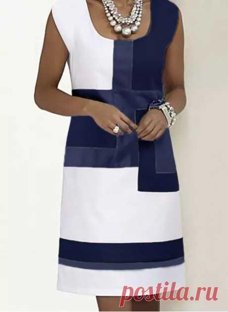 Casual Color Block Tunic Square Neckline Shift Dress - Floryday