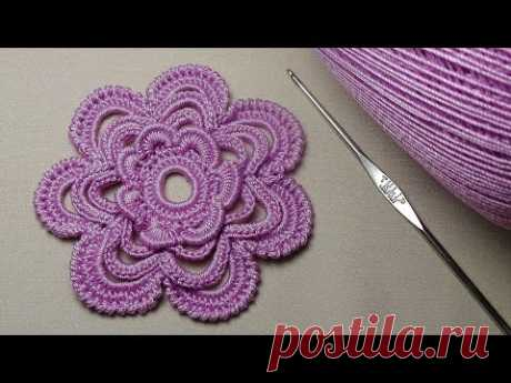 How to connect the FLOWER a hook for beginners - the Irish lace - crochet flower - 3D Flowers Crochet