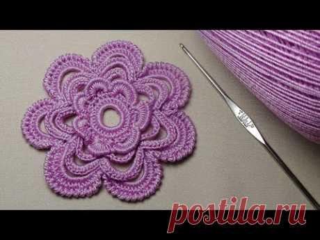 Как связать ЦВЕТОК крючок для начинающих - ирландское кружево - crochet flower - 3D Flowers Crochet