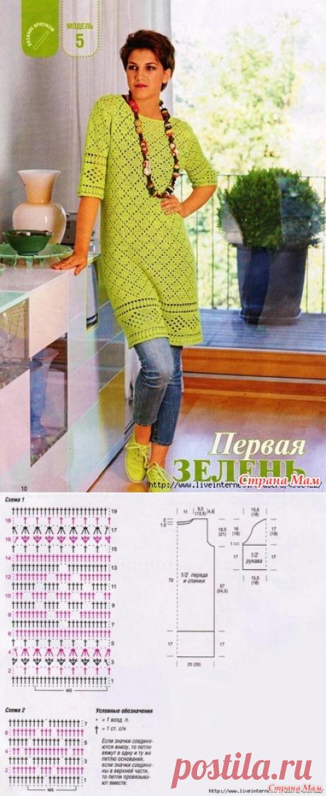 Зеленое платье или туника - Вязание - Страна Мам