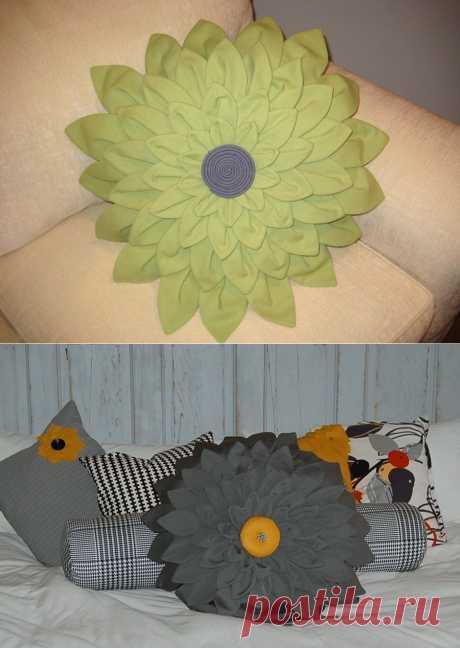Como coser la almohada, en forma de la flor de la dalia.