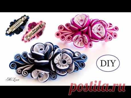 ЗАКОЛКА-АВТОМАТ КАНЗАШИ, МК / DIYKanzashi Flower Hairclip / Kanzashi Tutorial