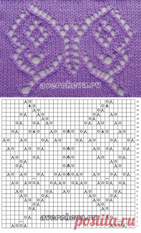 узор спицами ажурная бабочка| каталог вязаных спицами узоров