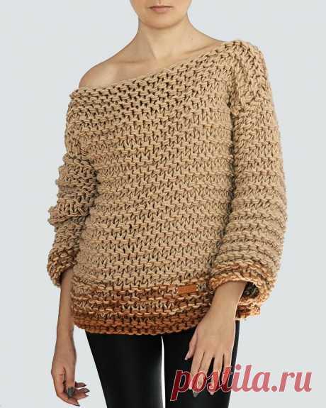 Женский вязаный свитер 812 ручной работы (Бежевый) - Asivia