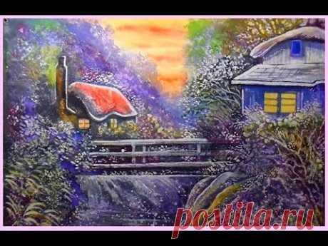 Как нарисовать пейзаж акварелью. Уроки рисования. Сказочные домики.
