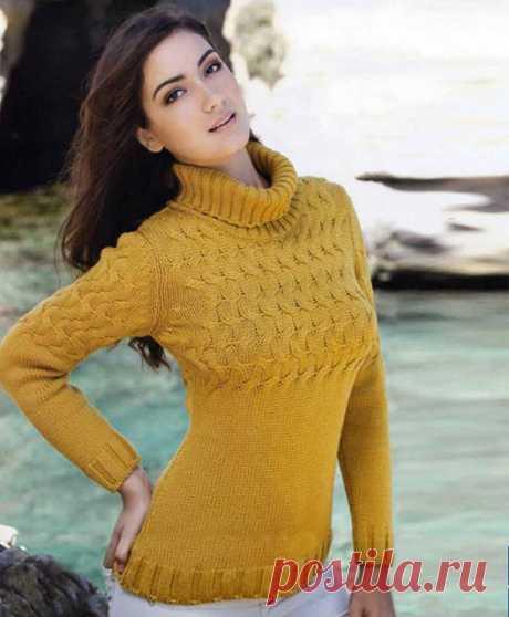 Вязание спицами. Женский свитер цвета пшеничной нивы.